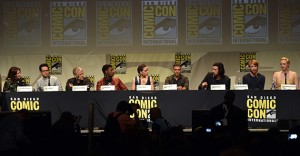 SAN DIEGO, CA - JULY 10:  (L-R) Producer Kathleen Kennedy, director J.J. Abrams, screenwriter Lawrence Kasdan, actors John Boyega, Daisy Ridley, Oscar Isaac, Adam Driver, Domhnall Gleeson, and Gwendoline Christie speak onstage at the Lucasfilm panel during Comic-Con International 2015 at the San Diego Convention Center on July 10, 2015 in San Diego, California.  (Photo by Kevin Winter/Getty Images)